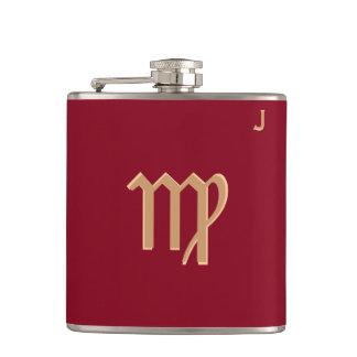 Red Monogrammed Flask - Zodiac - Virgo