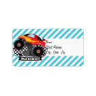Red Monster Truck; Chequered Flag; Blue Stripes Label