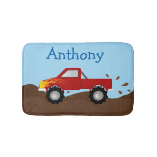 Red Monster Truck With Flames Bath Mat