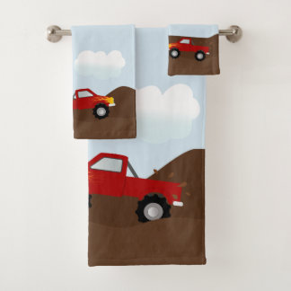 Red Monster Trucks With Flames Bath Towel Set