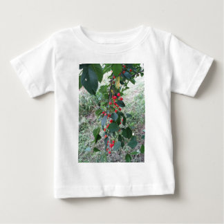 Red Montmorency cherries on tree in cherry orchard Baby T-Shirt