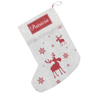 Red Moose and Red Snowflakes Christmas Stocking Small Christmas Stocking