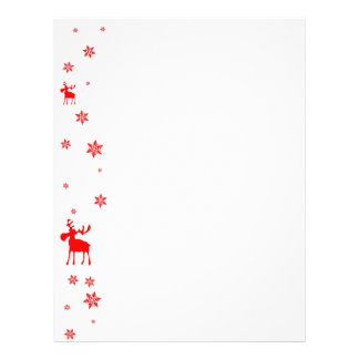 Red Moose and Red Snowflakes - Stationery Custom Letterhead