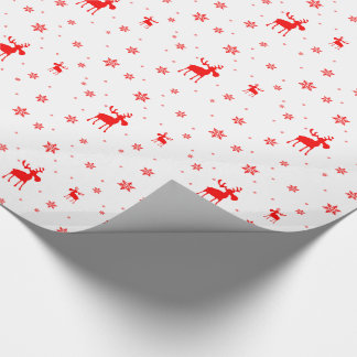 Red Moose and Red Snowflakes - Wrapping Paper