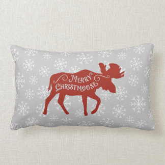 Red Moose and Snowflakes Christmas Pillow