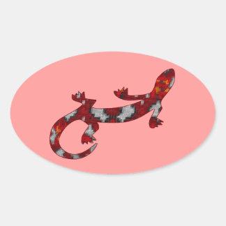 Red Mosaic Snake Skin Lizard Oval Sticker