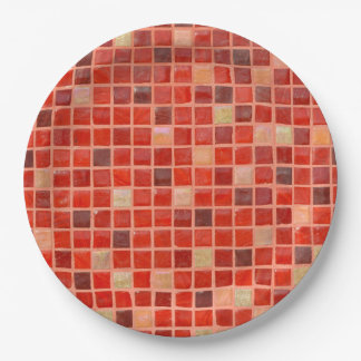 Red Mosaic Tile Background 9 Inch Paper Plate