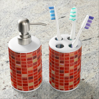 Red Mosaic Tile Background Bathroom Set