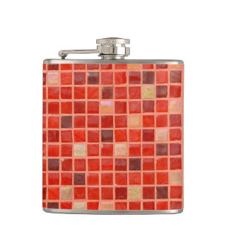 Red Mosaic Tile Background Hip Flask