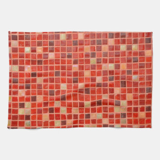 Red Mosaic Tile Background Kitchen Towel