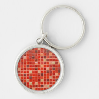 Red Mosaic Tile Background Silver-Colored Round Keychain