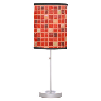 Red Mosaic Tile Background Table Lamp