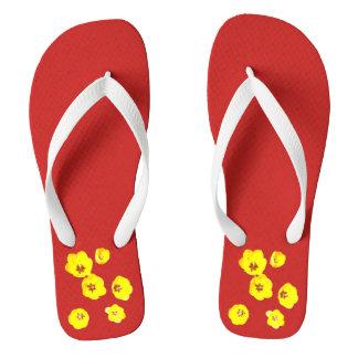 Red Motif Flip Flops