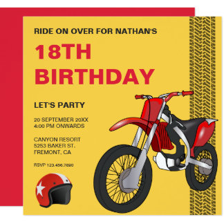 Red Motocross Bike Birthday Party Invitation