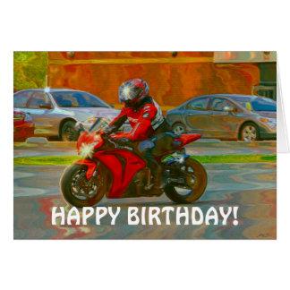 Red Motorbike Biker Birthday Card