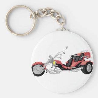 red motorcycle trike basic round button keychain