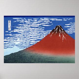 Red Mount Fuji Vintage Japanese Print