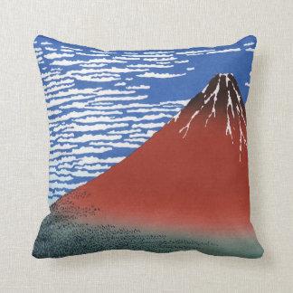 Red Mount Fuji Vintage Japanese Print Throw Pillow