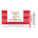 Red Movie Night Party Admission Ticket Invite Personalized Photo Card