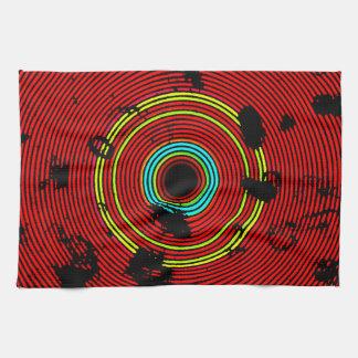 Red Multicolor Vinyl Disc Texture Pattern Kitchen Towel