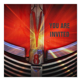 """Red Muscle Car V8 Power and Chrome 5.25"""" Square Invitation Card"""