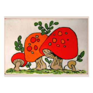 Red Mushrooms ~ ATC Large Business Card