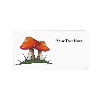 Red Mushrooms, Original Art, Toadstools, Fantasy Label