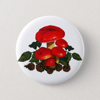 Red Mushrooms, Pine Cones; Nature Art 2 Inch Round Button