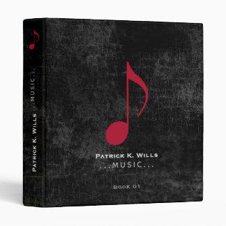 red music note on black binder