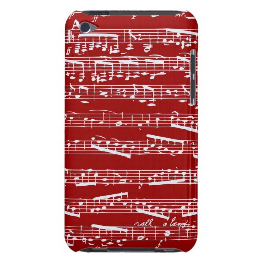 Red music notes barely there iPod cases