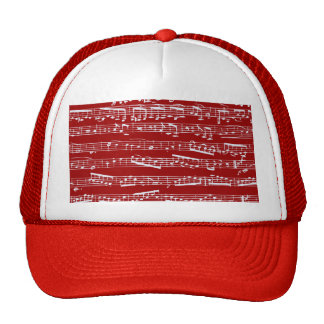 Red music notes trucker hats