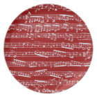 Red music notes plate
