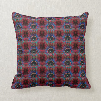 Red music speakers pattern throw pillow
