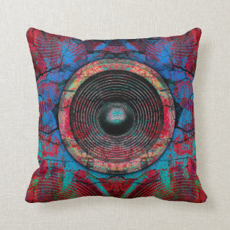 Red music speakers throw pillow