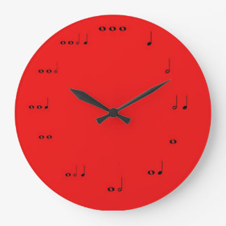 Red Musical note clock
