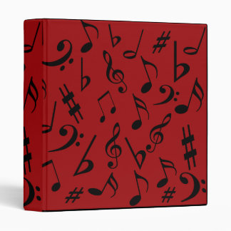 Red Musical Notes Binder
