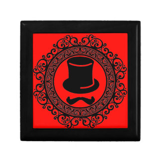 red mustache hat hipster keepsake box
