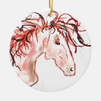 Red Mustang Ceramic Ornament