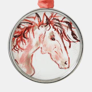 Red Mustang Metal Ornament