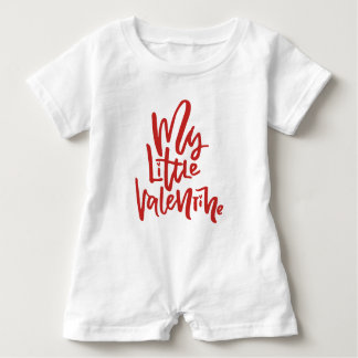 Red My Little Valentine Hand Lettering Baby Romper