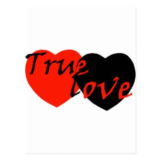 Red n Black True Love Hearts Postcard