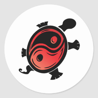 Red-n-Black-Yin-Yang-Turtle Classic Round Sticker