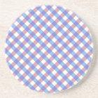 Red n Blue Gingham Pattern Coaster