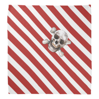 Red 'n White Pirate Stripes w' Skull & Crossbones Bandana