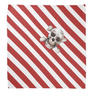 Red 'n White Pirate Stripes w' Skull & Crossbones Do-rags