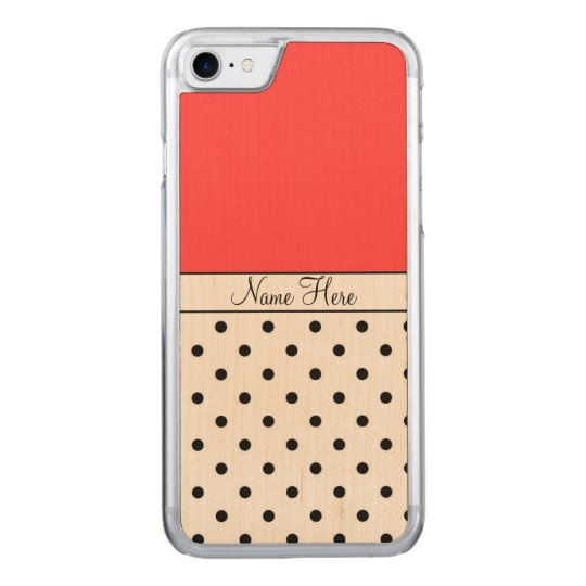 Red Name, Black Polka Dots Carved iPhone 7 Case