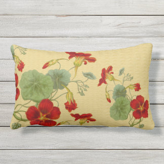 Red Nasturtiums on Gold Outdoor Lumbar Pillow