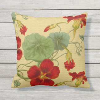 Red Nasturtiums on Gold Outdoor Pillow 16x16
