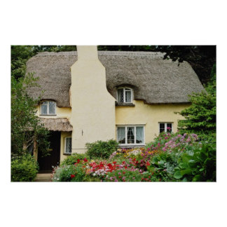 Red National Trust Cottage, Selworthy, Somerset fl Poster
