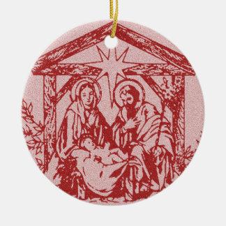 Red Nativity Round Ceramic Ornament